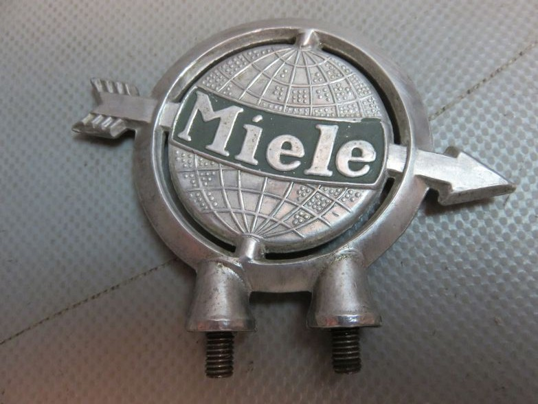 oldtimer miele fahrradschutzblech werbe emblem fig rlich ebay. Black Bedroom Furniture Sets. Home Design Ideas
