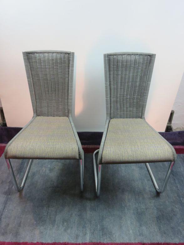 2 tecta st hle kragstuhl freischwinger hochlehner ebay. Black Bedroom Furniture Sets. Home Design Ideas