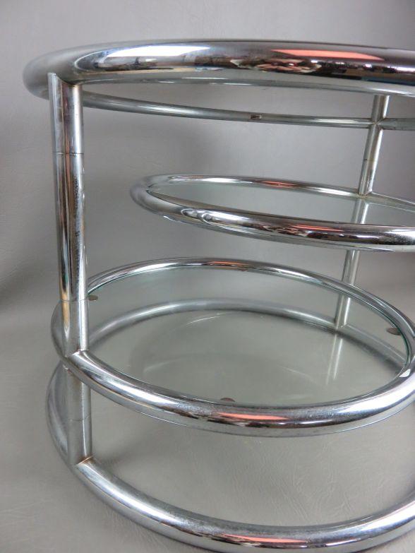 vintage 70 er chrom glas beistelltisch runde glasplatte. Black Bedroom Furniture Sets. Home Design Ideas